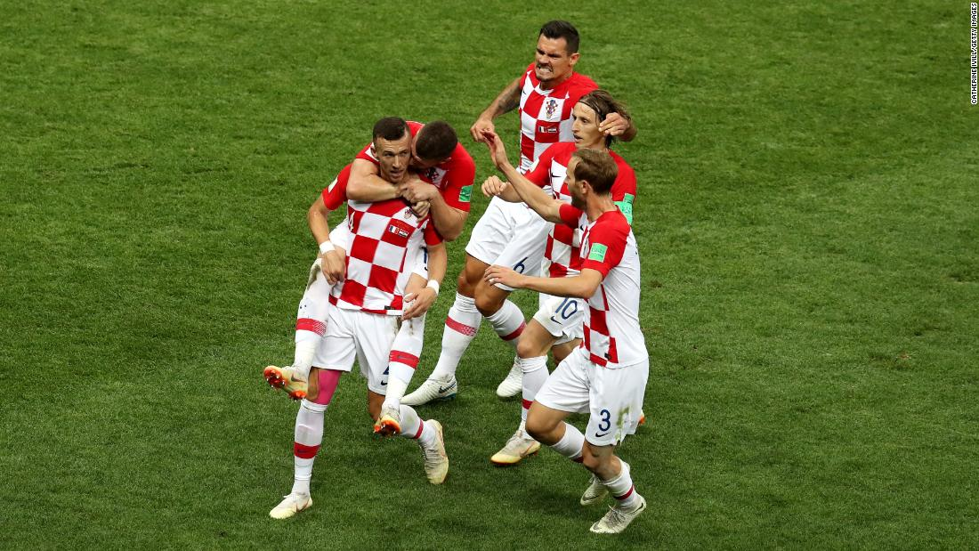 Perisic, bottom left, scored a spectacular first-half goal to tie the match at 1-1.