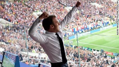 French President Emmanuel Macron reacts during the final match between France and Croatia at the 2018 soccer World Cup in the Luzhniki Stadium in Moscow, Russia, Sunday, July 15, 2018. (Alexei Nikolsky, Sputnik, Kremlin Pool Photo via AP)