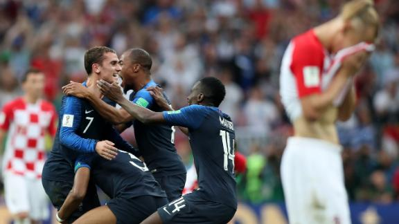 French players celebrate after the final whistle.