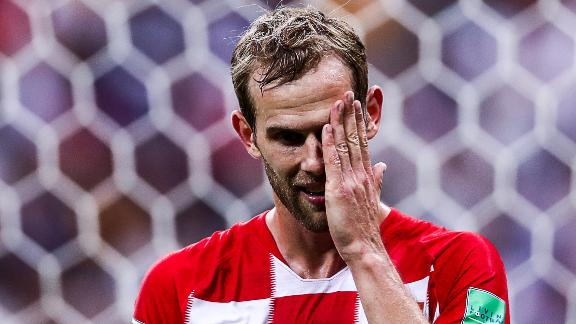 Croatia's Ivan Strinic reacts during the match.