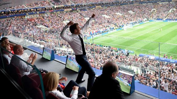French President Emmanuel Macron celebrates France