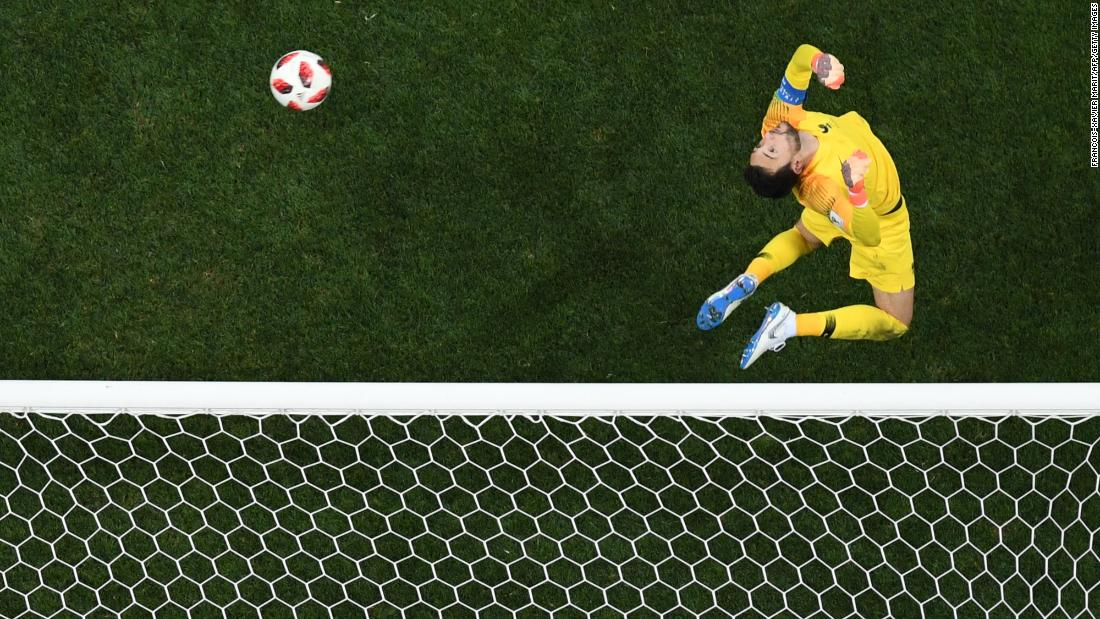 France΄s goalkeeper Hugo Lloris saves a shot during the World Cup final match between France and Croatia on Sunday, July 15.