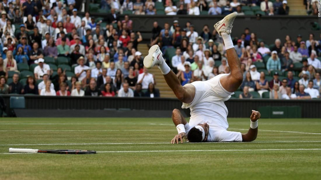 Juan Martin Del Potro of Argentina during his quarter final match against Rafael Nadal of Spain at the Wimbledon Championships on Wednesday, July 11.