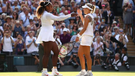 LONDON, ENGLAND - JULY 14:  Angelique Kerber of Germany (R) embraces Serena Williams of The United States after the Ladies