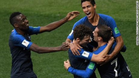 France's forward Antoine Griezmann, France's defender Benjamin Pavard, France's defender Raphael Varane  and France's midfielder Blaise Matuidi celebrate Croatia's forward Mario Mandzukic's own goal during their Russia 2018 World Cup final football match between France and Croatia at the Luzhniki Stadium in Moscow on July 15, 2018. (Photo by GABRIEL BOUYS / AFP) / RESTRICTED TO EDITORIAL USE - NO MOBILE PUSH ALERTS/DOWNLOADS        (Photo credit should read GABRIEL BOUYS/AFP/Getty Images)