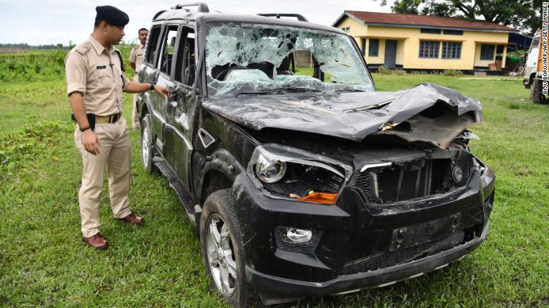 This photo taken on July 10, 2018 shows a damaged vehicle in which two men were traveling in Assam when they were attacked by a mob.