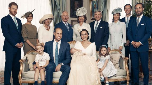 The Royal Family at Clarence House after the christening of Prince Louis on Monday 9th July.