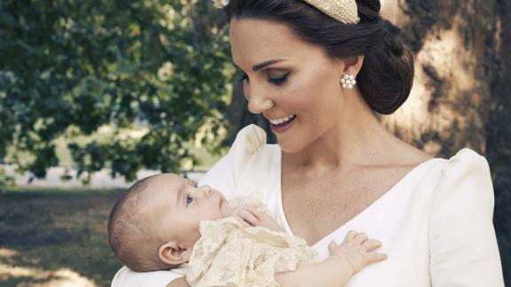 The Duchess of Cambridge and Prince Louis in the garden at Clarence House, following Prince Louis's christening.