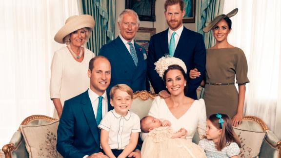 For first publication 22.30 hours BST on Sunday July 15th 2018: OFFICIAL PORTRAIT OF THE CHRISTENING OF PRINCE LOUIS. OBLIGATORY CREDIT LINE: PHOTO MATT HOLYOAK/CAMERA PRESS.          Official portrait taken in the Morning Room at Clarence House, following the christening of Prince Louis at St James?s Chapel. Seated (left to right): The Duke of Cambridge, Prince George, Prince Louis, The Duchess of Cambridge, Princess Charlotte. Standing (left to right): The Duchess of Cornwall, The Prince of Wales, The Duke of Sussex, The Duchess of Sussex. THIS PHOTOGRAPH IS PROVIDED FOR FREE NEWS USAGE IN CONNECTION WITH PRINCE LOUIS?S CHRISTENING UNTIL JULY 29TH 2018 . AFTER WHICH IT MUST BE REMOVED FROM ALL YOUR SYSTEMS. USAGE RIGHTS ARE STRICTLY EDITORIAL NEWS ONLY, NO COMMERCIAL, SOUVENIR OR PROMOTIONAL USE PERMITTED. MAGAZINE COVER USAGES REQUIRE APPROVAL. THE PHOTOGRAPH CANNOT BE CROPPED, MANIPULATED OR ALTERED IN ANY WAY.