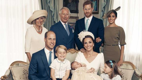 The Duke and Duchess of Cambridge with Members of the Royal Family in the Morning Room at Clarence House, following Prince Louis's christening.