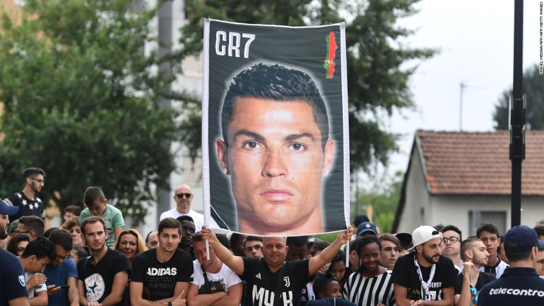 A crowd of Juventus supporters waited for their star signing Ronaldo to show up for his medical on Monday morning in Turin. Juventus is on a record run of seven Serie A titles in a row, but has not won the Champions League since 1996.