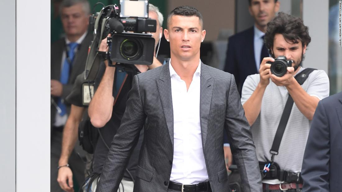 "The 33-year-old former Real Madrid and Manchester United goalscorer arrived in Turin dressed in a fitted suit. Previously dubbed one of the ""most stylish men alive"" by GQ magazine, the footballer has his own CR7 brand of menswear."