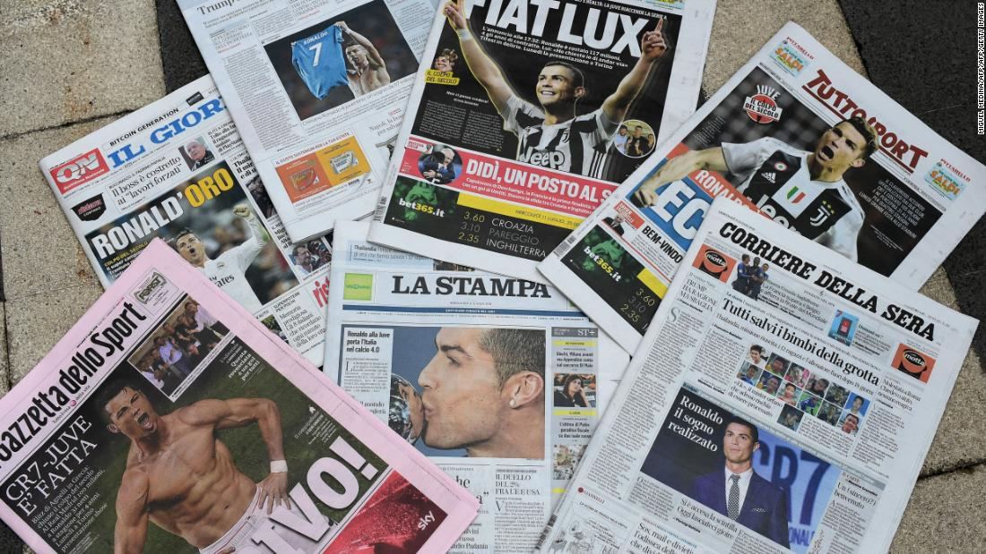 Headlines in the Italian papers on July 11, 2018 -- the day after Ronaldo's signing -- highlighted his reported $117 million transfer fee and $35 million annual salary.
