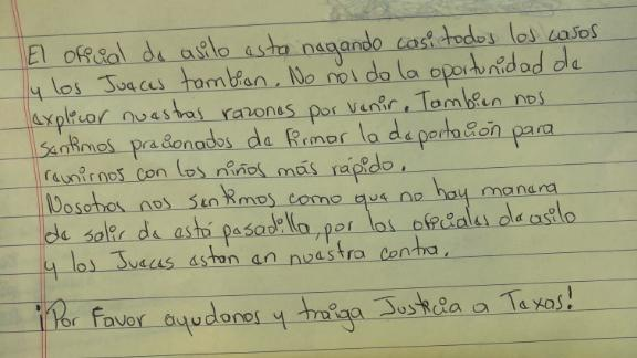 A section of the letter to the US people from parents at the Port Isabel Service Detention Center.