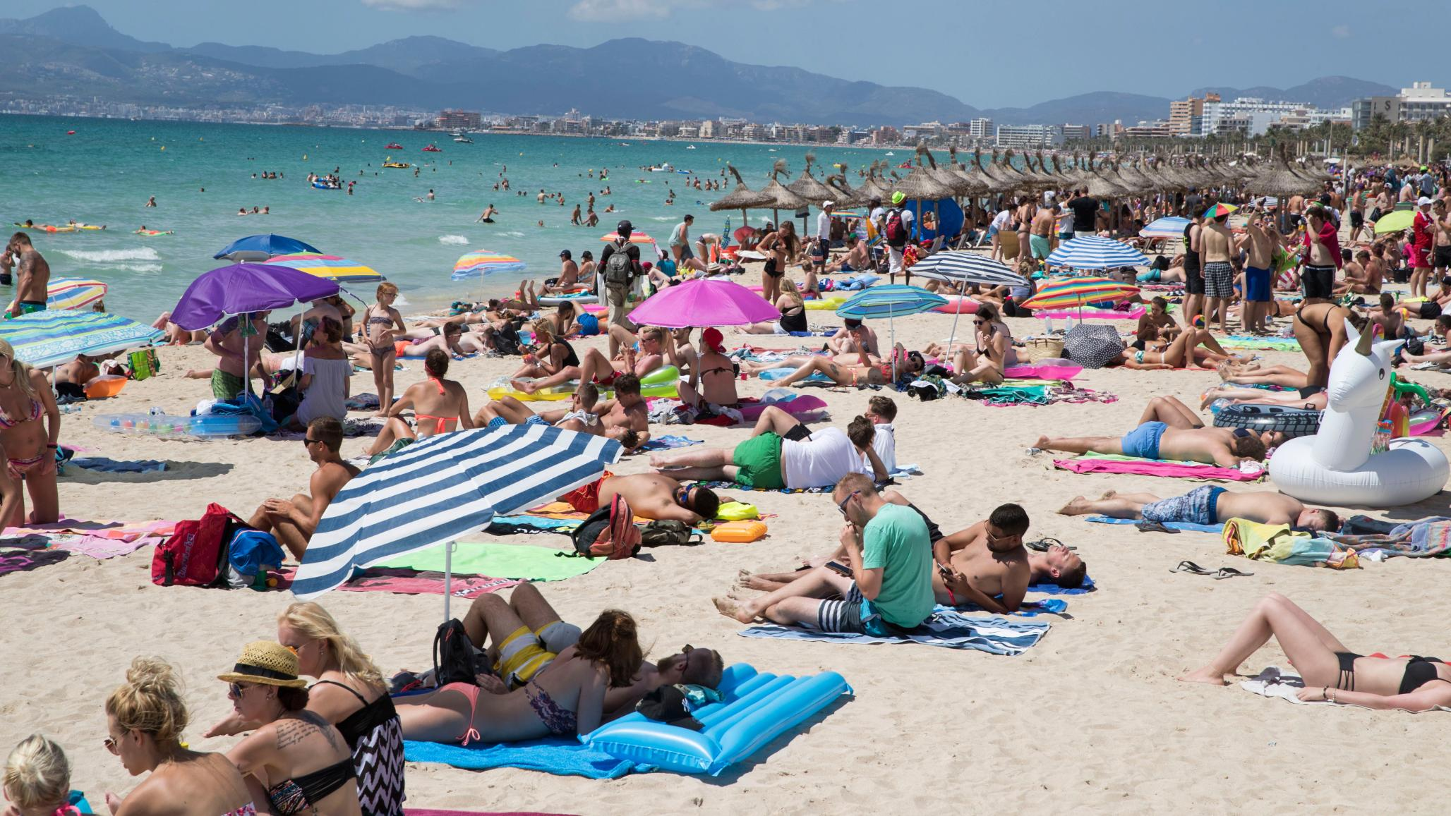 topless Modern beach family