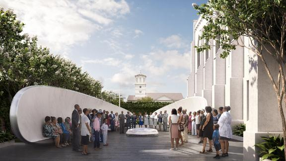A rendering of part of the proposed memorial to those killed and injured at Emanuel African Methodist Episcopal Church.