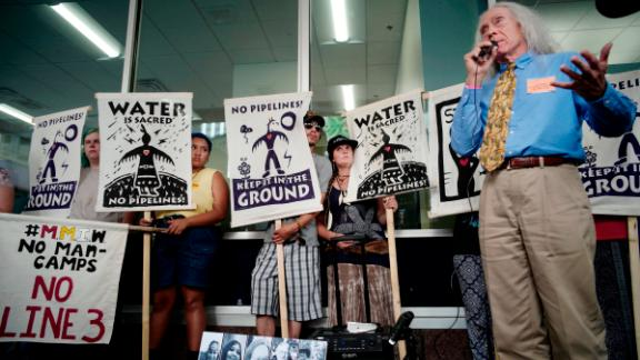 Joseph Plumer, attorney for White Earth and the Red Lake bands of the Ojibwe tribe, talks about possible legal measures available to stop Line 3 on June 28 in St. Paul, Minnesota.