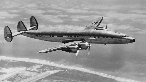 This is the first flight photo of the Columbine III, the US Air Force Lockheed Super Constellation used by President Dwight D. Eisenhower, on Nov. 26, 1954.
