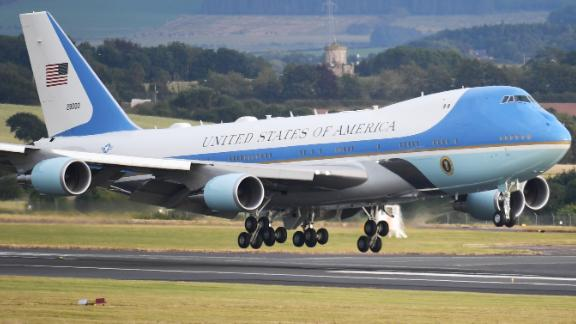 Air Force One carrying the President of the United States, Donald Trump and First Lady, Melania Trump touches down at Glasgow Prestwick Airport on July 13, 2018 in Glasgow, Scotland. Jeff J Mitchell/Getty Images