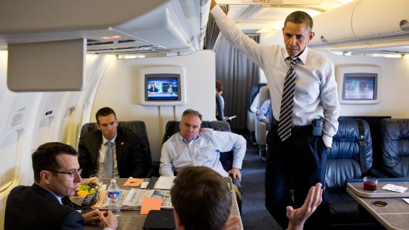 President Barack Obama aboard Air Force One during a flight on July 13, 2012.
