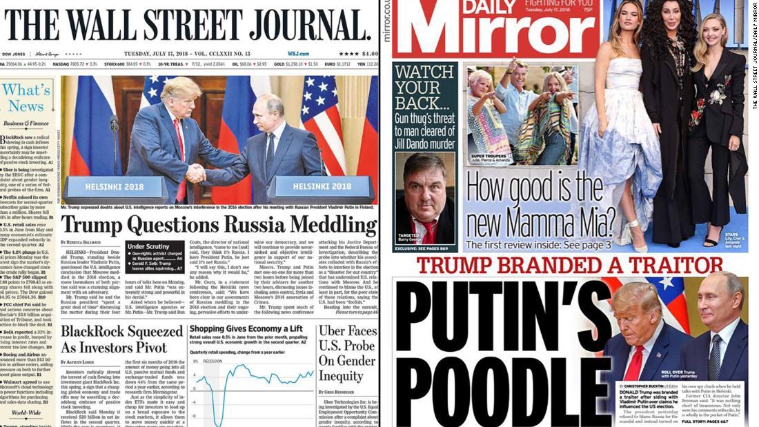 'Putin's poodle:' Newspapers react to the Trump-Putin meeting
