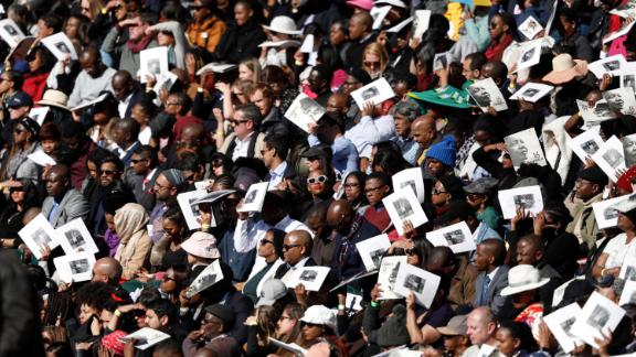 Attendees of Obama's speech at the Wanderers Cricket Stadium in Johannesburg.