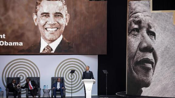 Obama speaks during the 2018 Nelson Mandela Annual Lecture at the Wanderers cricket stadium in Johannesburg on Tuesday.