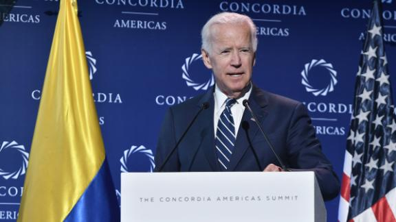 BOGOTA, COLOMBIA - JULY 17: Joe Biden, Former Vice president of the United States speaks at main speech as part of the 2018 Concordia Americas Summit day 2 at Agora Bogota Convention Center on July 17, 2018 in Bogota, Colombia. (Photo by Gabriel Aponte/Getty Images for Concordia Americas Summit)