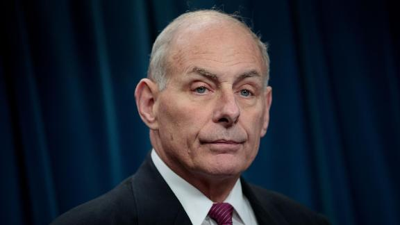 John Kelly answers questions during a press conference related to President Donald Trump