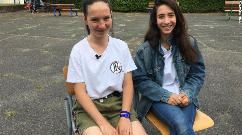 Zoe Crihan, 13 (L), and Louise Monciero, 14, were two of the pupils from school Jean Renoir that Kylian Mbappe sent to Russia