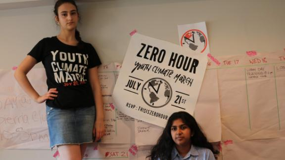 Teen activists Margolin and Nadia Nazar, both 16, co-founded climate justice group Zero Hour to demand greater action on climate change. The group organized a climate march in Washington DC and other cities on 21 July.