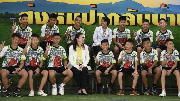 Members of the Wild Boars soccer team at the press conference.