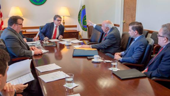 Secretary of of Energy Rick Perry, second from left, meets with Murray Energy CEO Bob Murray, third from right, on March 29, 2017. Now acting head of the EPA Andrew Wheeler is at far right.