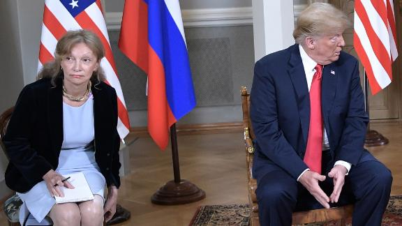 HELSINKI, FINLAND - JULY 16, 2018: US President Donald Trump and Russia's President Vladimir Putin (L-R centre) during a meeting at the Presidential Palace. (Photo by Alexei Nikolsky\TASS via Getty Images)