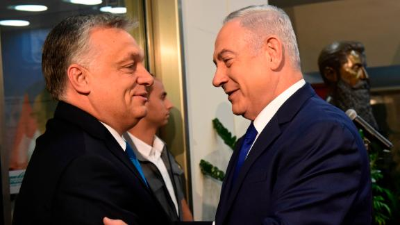 Orban is welcomed by Netanyahu upon his arrival at the prime minister