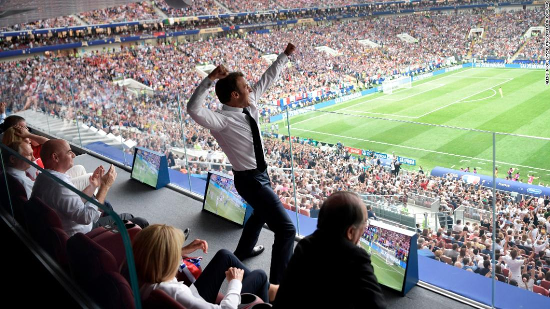 "French President Emmanuel Macron celebrates while watching the World Cup final in Moscow on Sunday, July 15. France defeated Croatia 4-2 to win its second world title. <a href=""http://www.cnn.com/2018/06/14/football/gallery/world-cup-2018/index.html"" target=""_blank"">See the best photos from the World Cup</a>"