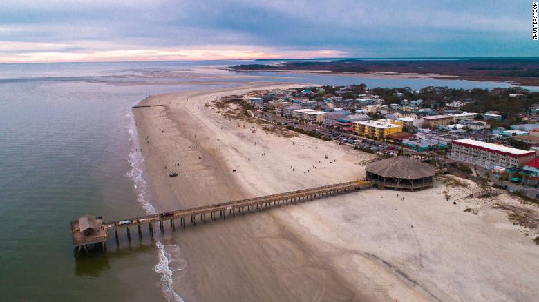 Tybee Island in a 2018 photograph. The beach is located near Savannah, Georgia.
