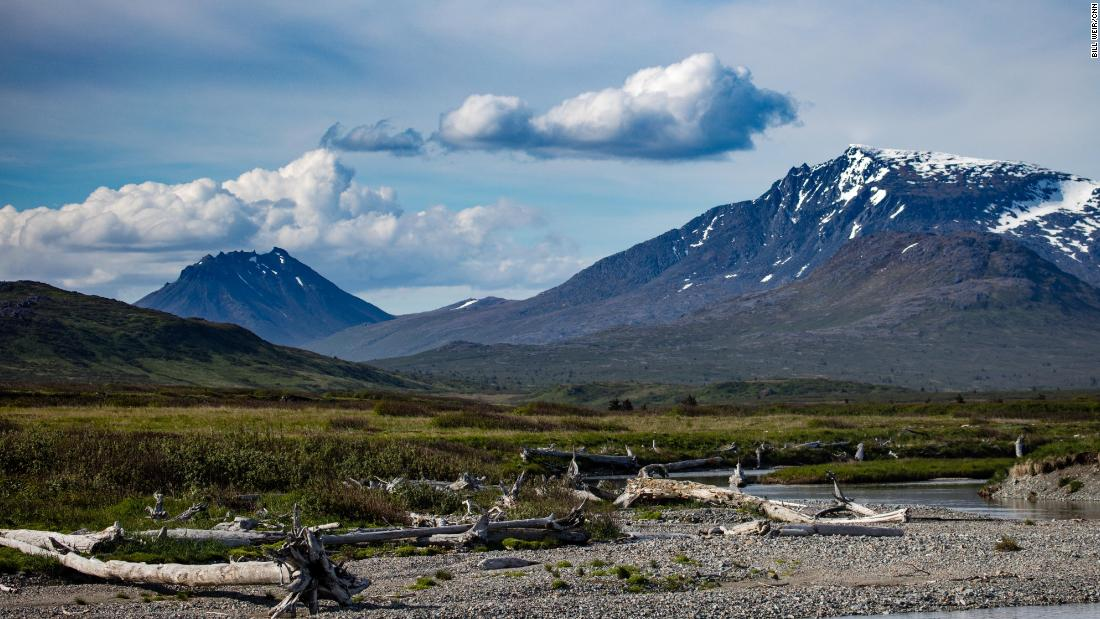 Looking inland to the hills where there may be gold, copper and silver, from Amakdedori Beach in the south of Alaska.