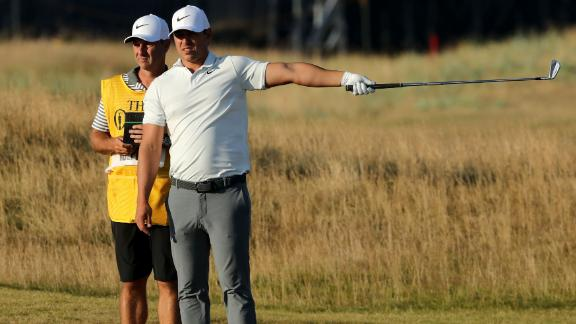 Brooks Koepka, who won the US Open in June, reacts after a wayward shot on Thursday.