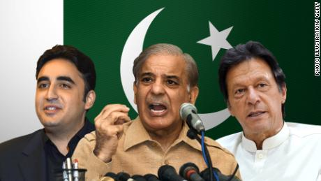 The three leading candidates in Pakistan's general election: Bilawal Bhutto Zardari (PPP), Shahbaz Sharif (PML-N), and Imran Khan (PTI).