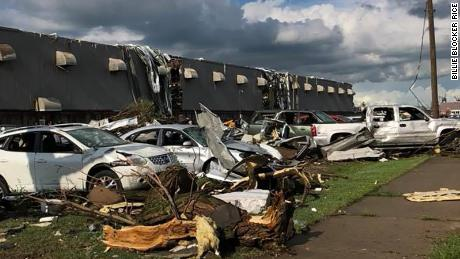 Damage from a tornado that hit Marshalltown, Iowa on Thursday, June 19.