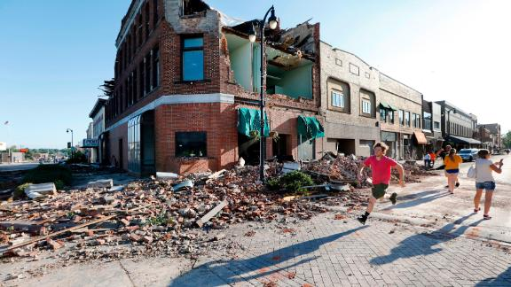 Several buildings in Marshalltown were damaged.