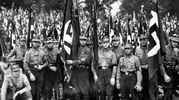 Brownshirts at a rally in Nuremberg, Germany, 1933.