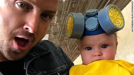 Aaron Paul Dresses Daughter In Mini Hazmat Suit