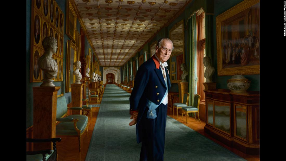 This portrait, painted by Ralph Heimans, shows Prince Philip in the Grand Corridor of Windsor Castle. It was unveiled in December 2017.