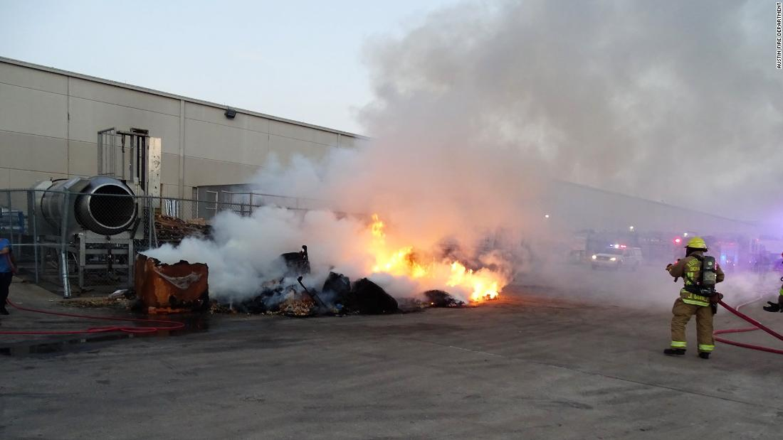 High temperatures caused tortilla chip waste to catch fire in Austin, Texas.