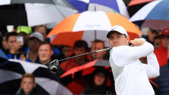 McIlroy plays a tee shot Friday.