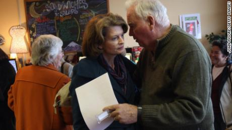 Sen. Lisa Murkowski with her father, Frank, himself a former US senator and governor of Alaska, in 2010. Both battled for years to open ANWR to drilling.