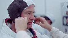 "Buzz Aldrin prepares for takeoff, as seen in the ""Apollo 11"" documentary."