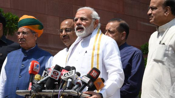Indian Prime Minister Narendra Modi addresses the media at Parliament House in Delhi, ahead of Friday's no-confidence motion against the government.